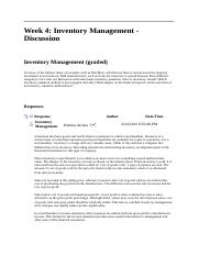 ACCT 212 Week 4 DQ 1 Inventory Management