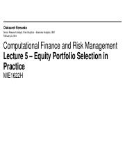 MIE1622H Lecture 5 - Equity Portfolio Selection in Practice