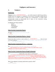 Negligence and Insurance Week 7.docx