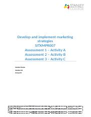 Assessment workbook SITXMPR007  Develop and implement marketing strategies_BK PARK.docx