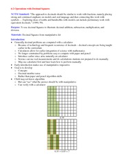 Lecture Notes on Operations with Decimal Squares