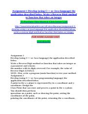 Assignment 1 Develop (using C++ or Java language) the application described below. Write a Reverse D