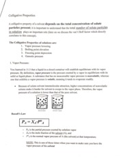 Notes on Colligative Properties with problems