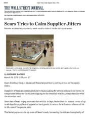 Sears Tries to Calm Supplier Jitters Mar 18 2015 - WSJ
