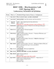 BISC 330L 2013 Lab Schedule and Syllabus