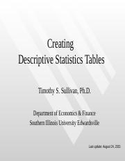 Creating Descriptive Statistics Tables