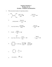 Problem Set #14 Alcohols - REDOX