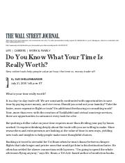 Do You Know What Your Time Is Really Worth_ - WSJArticles