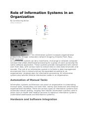 Role of Information Systems in an Organization.docx