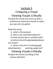 Lecture 3 - Critiquing Visuals