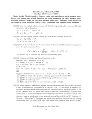Final Exam Fall 2013 on Ordinary Differential Equations