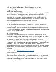 Job Responsibilities of the Manager of a Sole Proprietorship.docx