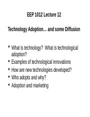 EEP101_Lecture 12_Technology_Adoption