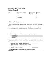 Americans and Their Forests Practice Exam 1