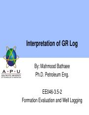 111 Interpretation of GR Log