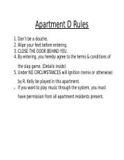 Apartment D Rules