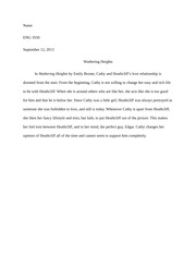 Wuthering Heights Assignment Paragraph
