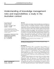 Knowledge Management Research & Pracitice