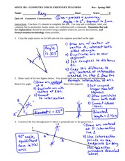Quiz 4 Solution on Performing Geometric Constructions
