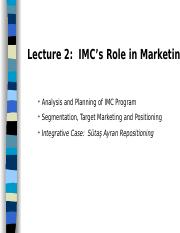 Advertising Lecture 2 - Planning, Segmentation and Positioning rev
