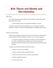 Role Theory and Identity and Discrimination