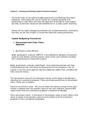 Chapter 8 – Assessing and Selecting Capital Investment Proposal .docx