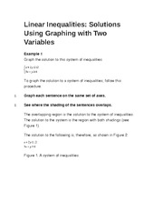 Linear Inequalities- Solutions Using Graphing with Two Variables