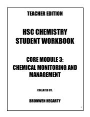 Teacher Edition Book Core 3, Chemical Monitoring and Management