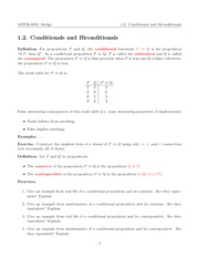 Lecture 1.2 - Conditionals and Biconditionals