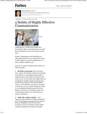 5 Habits of Highly Effective Communicators FORBES