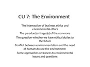 CU 7, The Environment