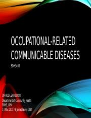 Occupational-related Communicable Diseases