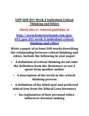 UOP GEN 201 Week 3 Individual Critical Thinking and Ethics.doc