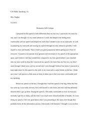 Beautiful 2 Pages Persuasive Speech   Self Critique Example