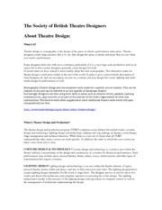 Lecture #1 What is Theatre Design
