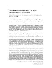 Consumer Empowerment Through Internet-Based Co-creation