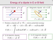 Energy of a Dipole in E or B Field