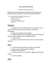 CA Worksheet-Theatre Spaces !!!