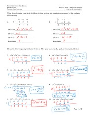 math worksheet : synthetic division review answers  precalculus i practice sheet  : Synthetic Division Worksheet