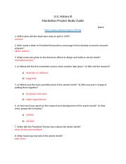 Manhattan Project Study Guide