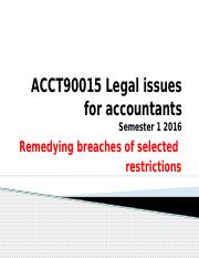 Legal Issues - Remedying breaches of selected restrictions sem 1 2016
