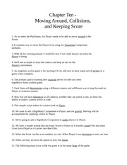 Chapter Ten - Moving Around, Collisions, and Keeping Score