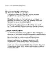 Lecture 3 Notes Requirements and Specification