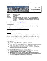 Cities of The World Syllabus