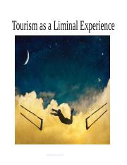 Lecture 3 - Tourism as liminal experience
