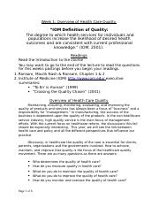 Week 1 Overview of Health Care Quality.docx
