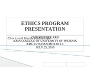 ETHICS PROGRAM PRESENTATION
