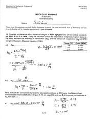 MECH 3020 Fall 2013 Midterm I Solution