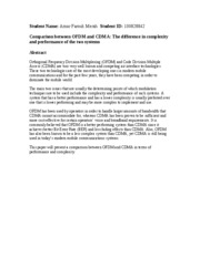Comparison between OFDM and CDMA - The difference in complexity and performance of the two systems