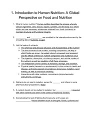1. Introduction to Human Nutrition: A Global  Perspective on Food and Nutrition